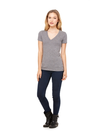 BELLA TRI-BLEND S/S TEE V-NECK LADIES