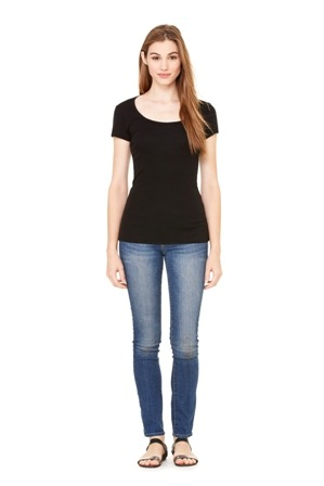 BELLA SHEER MINI RIB S/S SCOOP NECK TEE