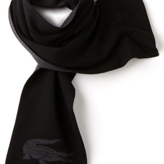 LACOSTE Men's Wool Scarf With Jacquard Crocodile